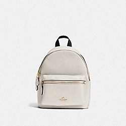 MINI CHARLIE BACKPACK IN PEBBLE LEATHER - f38263 - IMITATION GOLD/CHALK
