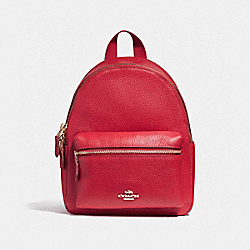 MINI CHARLIE BACKPACK IN PEBBLE LEATHER - F38263 - LIGHT GOLD/TRUE RED