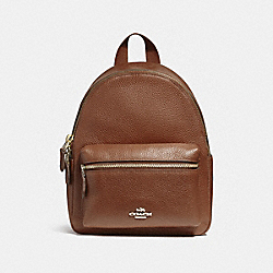 COACH MINI CHARLIE BACKPACK - LIGHT GOLD/SADDLE 2 - F38263