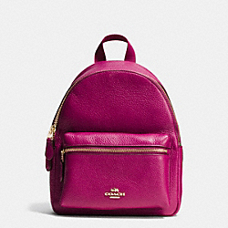 COACH MINI CHARLIE BACKPACK IN PEBBLE LEATHER - IMITATION GOLD/FUCHSIA - F38263