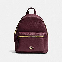 COACH MINI CHARLIE BACKPACK IN PEBBLE LEATHER - IMITATION GOLD/OXBLOOD - F38263