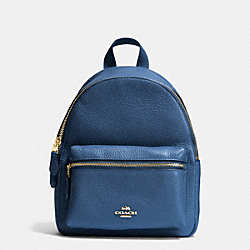 MINI CHARLIE BACKPACK IN PEBBLE LEATHER - f38263 - IMITATION GOLD/MARINA