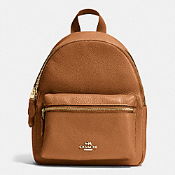 COACH MINI CHARLIE BACKPACK IN PEBBLE LEATHER - IMITATION GOLD/SADDLE - F38263