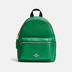 MINI CHARLIE BACKPACK IN PEBBLE LEATHER - f38263 - SILVER/JADE