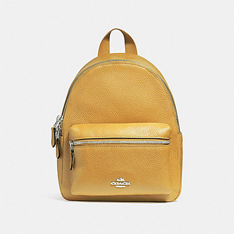 COACH f38263 MINI CHARLIE BACKPACK SILVER/MUSTARD 2