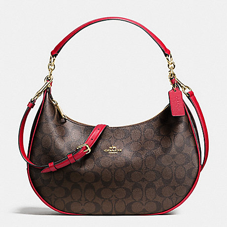 COACH HARLEY EAST/WEST HOBO IN SIGNATURE - IMITATION GOLD/BROW TRUE RED - f38267