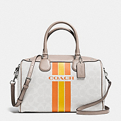 COACH COACH VARSITY STRIPE BENNETT SATCHEL IN SIGNATURE - SILVER/CHALK ORANGE - F38269