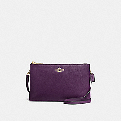 LYLA CROSSBODY IN PEBBLE LEATHER - f38273 - IMITATION GOLD/AUBERGINE