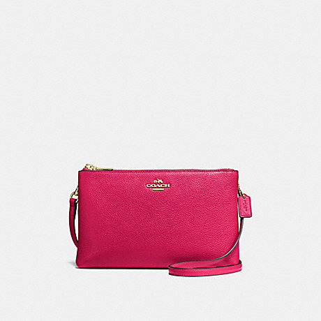 COACH LYLA CROSSBODY IN PEBBLE LEATHER - IMITATION GOLD/BRIGHT PINK - f38273