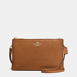 LYLA CROSSBODY IN PEBBLE LEATHER - f38273 - IMITATION GOLD/SADDLE