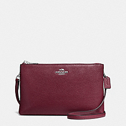 LYLA CROSSBODY IN PEBBLE LEATHER - f38273 - SILVER/BURGUNDY