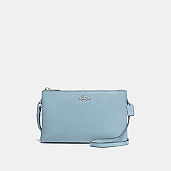 LYLA CROSSBODY IN PEBBLE LEATHER - f38273 - SILVER/CORNFLOWER