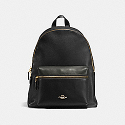 COACH CHARLIE BACKPACK IN PEBBLE LEATHER - IMITATION GOLD/BLACK - F38288