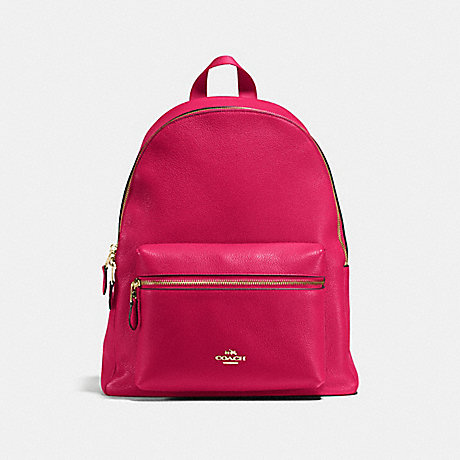 COACH CHARLIE BACKPACK IN PEBBLE LEATHER - IMITATION GOLD/BRIGHT PINK - f38288