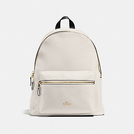 COACH CHARLIE BACKPACK IN PEBBLE LEATHER - IMITATION GOLD/CHALK - f38288