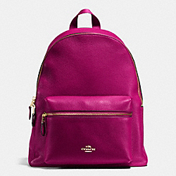 COACH CHARLIE BACKPACK IN PEBBLE LEATHER - IMITATION GOLD/FUCHSIA - F38288