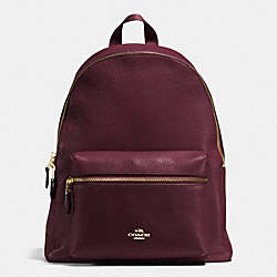 COACH CHARLIE BACKPACK IN PEBBLE LEATHER - IMITATION GOLD/OXBLOOD - F38288