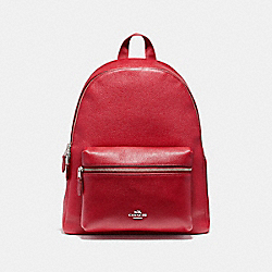 CHARLIE BACKPACK IN PEBBLE LEATHER - F38288 - SILVER/TRUE RED