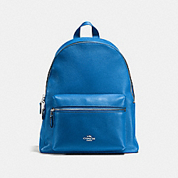 CHARLIE BACKPACK IN PEBBLE LEATHER - f38288 - SILVER/LAPIS
