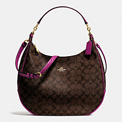 COACH HARLEY HOBO IN SIGNATURE - IMITATION GOLD/BROWN/FUCHSIA - F38300