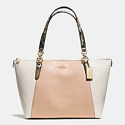 AVA TOTE IN EXOTIC EMBOSSED LEATHER TRIM - f38308 - IMITATION GOLD/BEECHWOOD MULTI