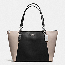 AVA TOTE IN EXOTIC EMBOSSED LEATHER TRIM - f38308 - SILVER/BLACK MULTI