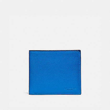 COACH 3-IN-1 WALLET WITH PLUS PLAID PRINT DETAIL - BRIGHT BLUE MULTI/BLACK ANTIQUE NICKEL - F38343