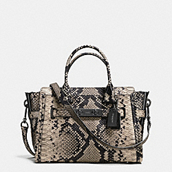COACH SWAGGER 27 CARRYALL IN SNAKE-EMBOSSED LEATHER - f38361 - DARK GUNMETAL/NATURAL