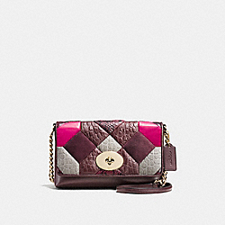 CROSSTOWN CROSSBODY IN EXOTIC CANYON QUILT LEATHER - f38367 - LIGHT GOLD/OXBLOOD MULTI