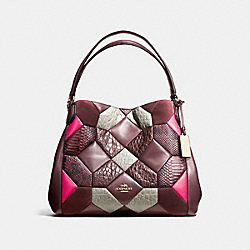 EDIE SHOULDER BAG 31 IN CANYON QUILT EXOTIC EMBOSSED LEATHER - f38369 - LIGHT GOLD/OXBLOOD MULTI