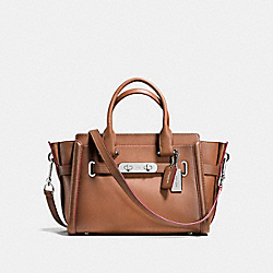 COACH SWAGGER 27 IN BURNISHED LEATHER - SILVER/SADDLE - COACH F38372