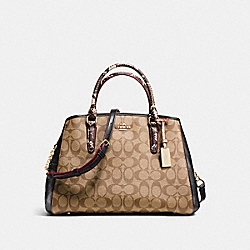 SMALL MARGOT CARRYALL IN SIGNATURE COATED CANVAS AND EXOTIC-EMBOSSED LEATHER - f38380 - IMITATION GOLD/KHAKI/BLACK