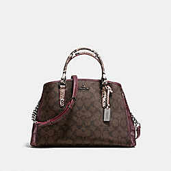 SMALL MARGOT CARRYALL IN SIGNATURE COATED CANVAS AND EXOTIC-EMBOSSED LEATHER - f38380 - BLACK ANTIQUE NICKEL/OXBLOOD