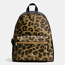 CHARLIE BACKPACK IN LEOPARD PRINT COATED CANVAS - f38391 - IMITATION GOLD/NATURAL