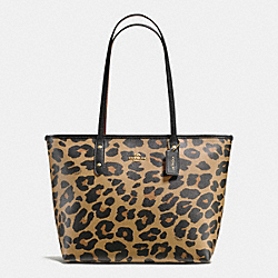 CITY ZIP TOTE IN LEOPARD PRINT COATED CANVAS - f38392 - IMITATION GOLD/NATURAL