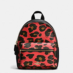MINI CHARLIE BACKPACK IN LEOPARD PRINT COATED CANVAS - f38395 - IMITATION GOLD/WATERMELON