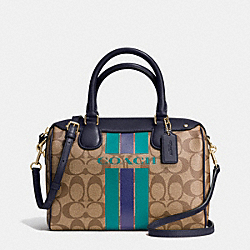 COACH COACH VARSITY STRIPE MINI BENNETT SATCHEL IN SIGNATURE - IMITATION GOLD/KHAKI/MIDNIGHT - F38401