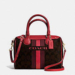 COACH COACH VARSITY STRIPE MINI BENNETT SATCHEL IN SIGNATURE - IMITATION GOLD/BROWN TRUE RED - F38401