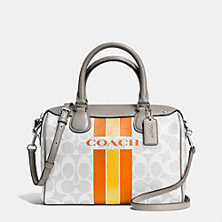 COACH VARSITY STRIPE MINI BENNETT SATCHEL IN SIGNATURE - f38401 - SILVER/CHALK ORANGE