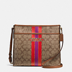 COACH VARSITY STRIPE FILE BAG IN SIGNATURE - IMITATION GOLD/KHAKI/WATERMELON - COACH F38402