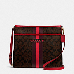 COACH VARSITY STRIPE FILE BAG IN SIGNATURE - IMITATION GOLD/BROWN TRUE RED - COACH F38402