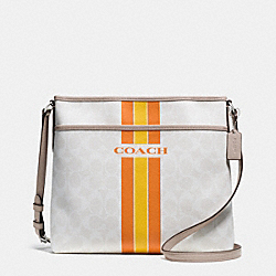 COACH VARSITY STRIPE FILE BAG IN SIGNATURE - SILVER/CHALK ORANGE - COACH F38402