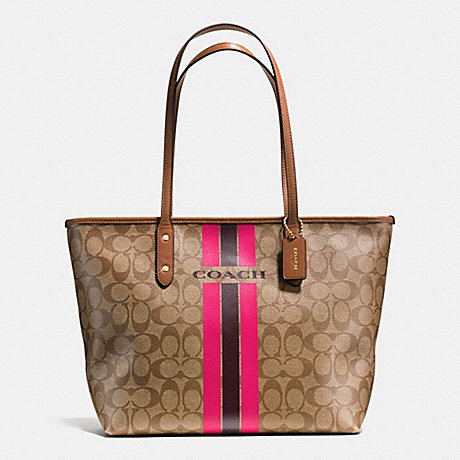 COACH COACH VARSITY STRIPE CITY ZIP TOTE IN SIGNATURE - IMITATION GOLD/KHAKI/PINK RUBY - f38405