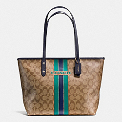 COACH COACH VARSITY STRIPE CITY ZIP TOTE IN SIGNATURE - IMITATION GOLD/KHAKI/MIDNIGHT - F38405