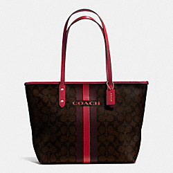COACH COACH VARSITY STRIPE CITY ZIP TOTE IN SIGNATURE - IMITATION GOLD/BROWN TRUE RED - F38405