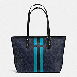 COACH COACH VARSITY STRIPE CITY ZIP TOTE IN SIGNATURE - SILVER/DENIM/BLACK - F38405