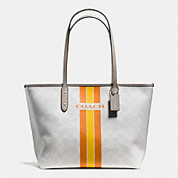 COACH COACH VARSITY STRIPE CITY ZIP TOTE IN SIGNATURE - SILVER/CHALK ORANGE - F38405
