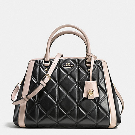 COACH f38406 SMALL MARGOT CARRYALL IN QUILTED COLORBLOCK LEATHER IMITATION GOLD/BLACK/GREY BIRCH