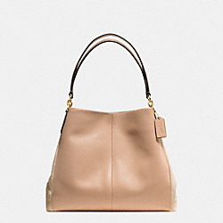 PHOEBE SHOULDER BAG IN SUEDE AND CROC EMBOSSED LEATHER - f38415 - IMITATION GOLD/BEECHWOOD