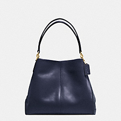 PHOEBE SHOULDER BAG IN SUEDE AND CROC EMBOSSED LEATHER - f38415 - IMITATION GOLD/MIDNIGHT